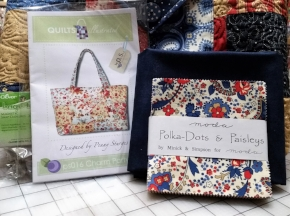 Everything you need to make a Charm Party tote bag:  Charm Party Pattern , Polka Dots and Paisleys  Charm Pack ,  Polkas Dots and Paisleys yardage  for your lining & pockets etc., and some hardware to finish!
