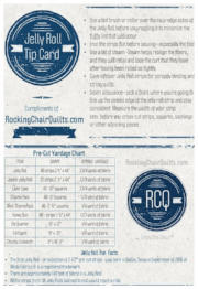 And a handy-dandy Jelly Roll Tip card & precut yardage chart, compliments of RockingChairQuilts.com.