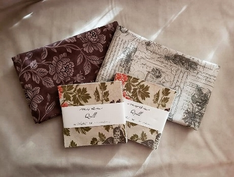 This yummy fabric is  Quill by 3 Sisters for Moda Fabrics  . Winner will be chosen at random from all entries.   CLICK HERE  to read the rules and sew on and sew forth.