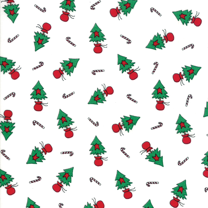 Merry Merry Snow Days Fabric #2945-13 Christmas Stitched Red Stripe