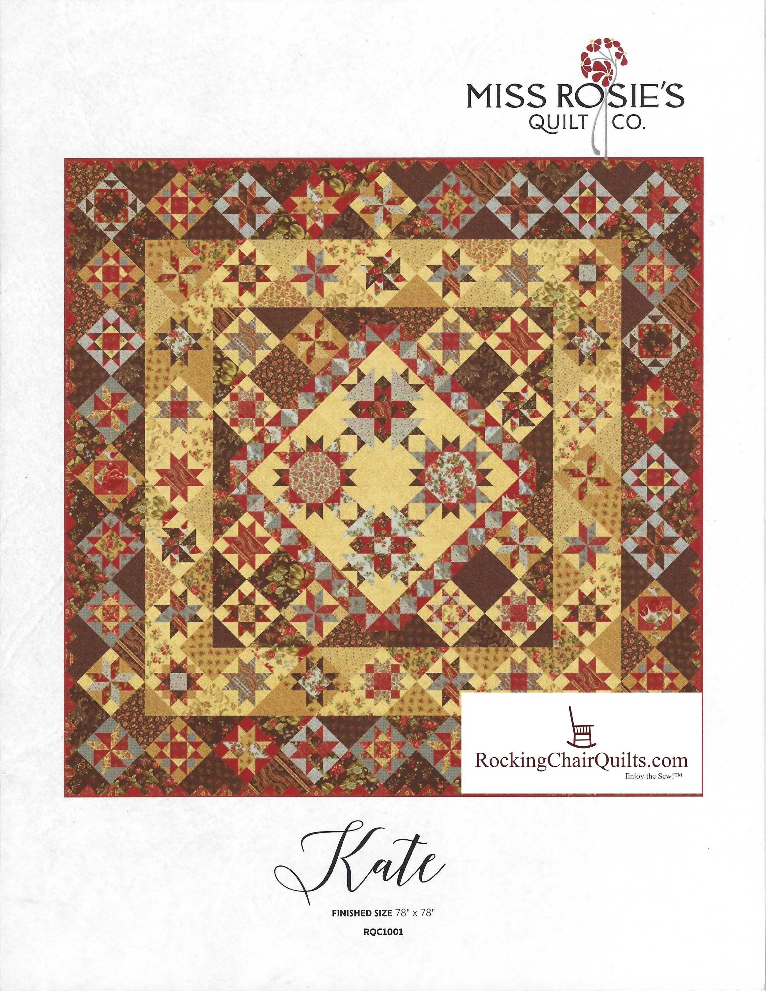 Quilt Rosewood Vanilla 44187 11 by 3 Sisters for Moda Fabrics