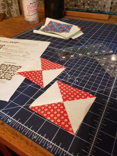 "The 16 quarter square triangles in this block need to be 3 1/2"" unfinished. The pattern pdf. doesn't show howto make then so I have include how I did it here."