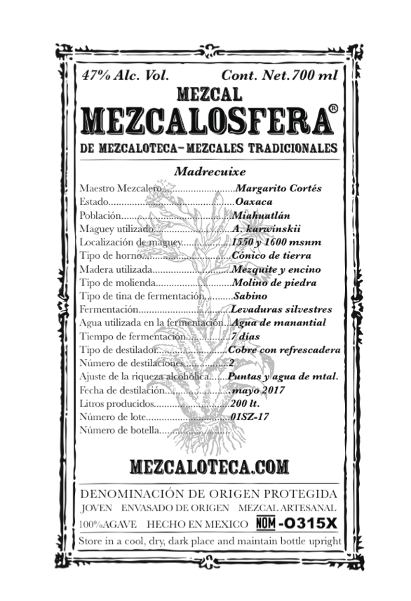 -Madrecuixe- - NARIZ: Madera y herbalNOSE: Wood and herbsBOCA: Herbal, ahumado, flores blancas y maderas en retrogusto. Denso y aceitoso al paladarMOUTH: Herbal, smokey and white flowers with wood in the after taste. Oily and dense to palate