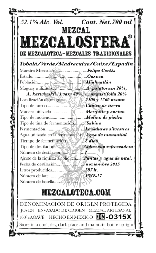 -Ensamble de 5 agaves/Blend of 5 agaves- - NARIZ: Madera, pimientas y hierbasNOSE: Wood, pepper and herbsBOCA: Complejo al paladar, varias capas de sabores desde pimientas, especias, madera, hierbas y terrozoMOUTH: Complex to palate, many layers of flavors going from pepper, spices, wood, herbs and earth