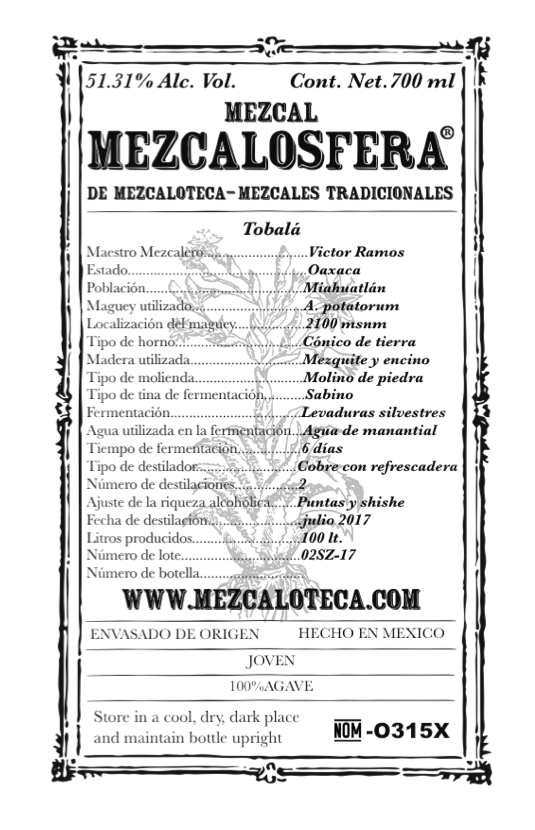 -Tobala- - NARIZ: Madera y semillas tostadasNOSE: Wood and toasted seedsBOCA: Seco, maderoso y ahumado, con fuerte personalidad en aromas y saboresMOUTH: Smokey, woody and dry, with a strong personality in flavors and aromas