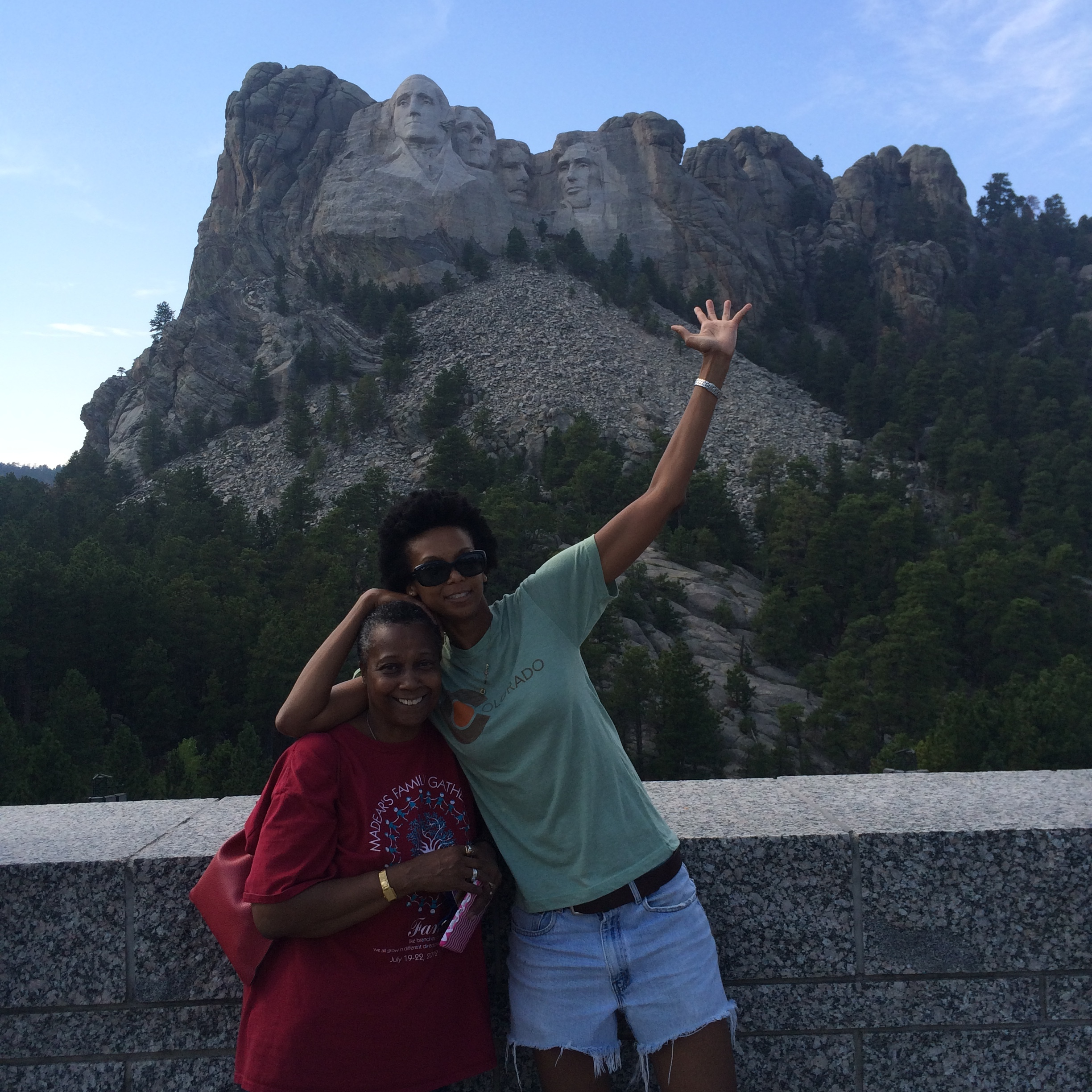 With Moma T at Mt. Rushmore on the drive out.