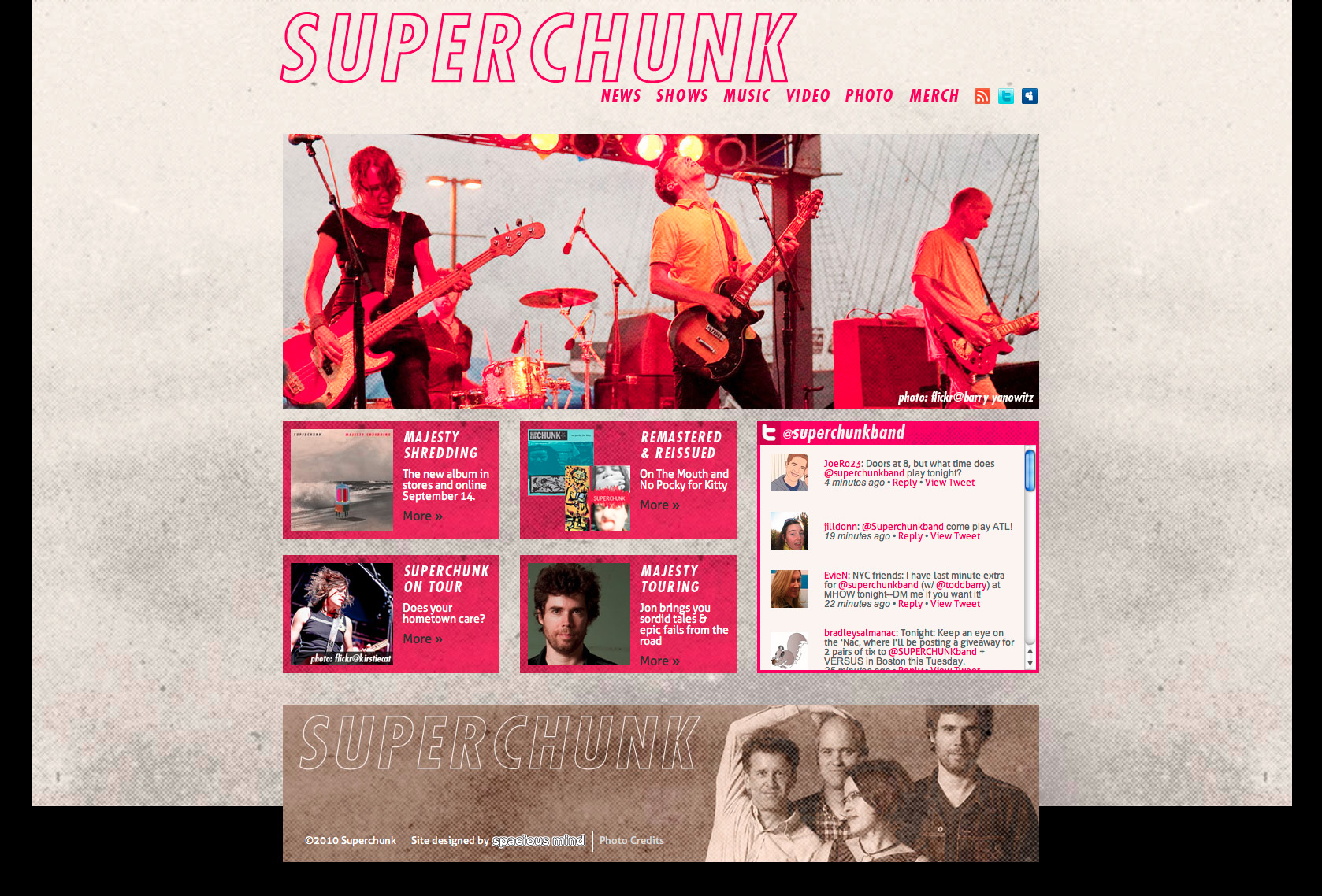 Superchunk website .  Photo of the band performing live, featured on their homepage.