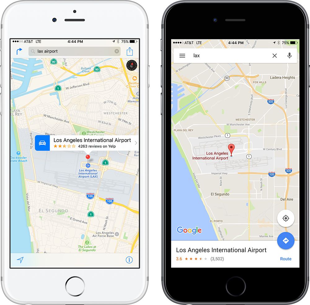 Apple Maps (left) hides directions under the curved arrow by the search field. Google Maps uses an obvious FAB in the lower right, with a helpful label.