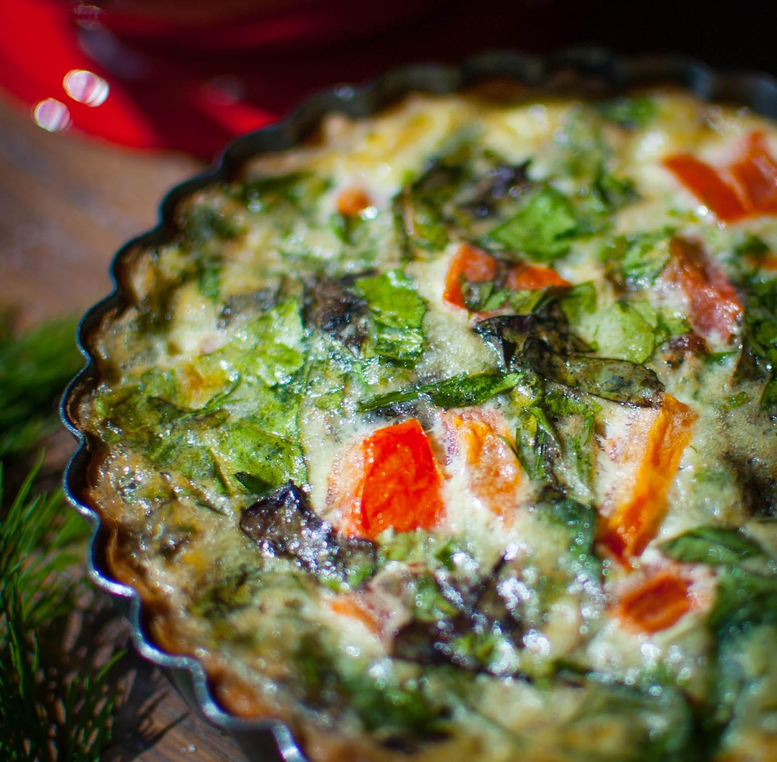 tomato, greens & dill quiche -