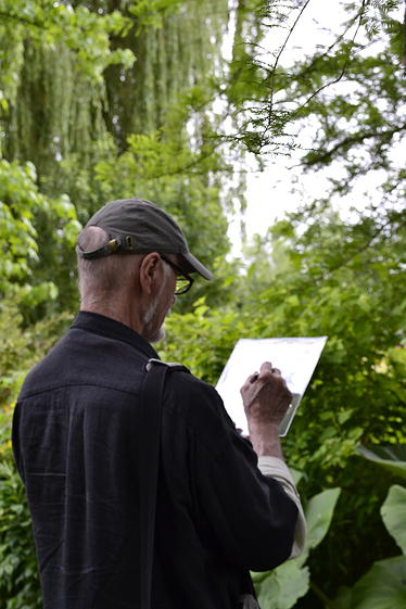 Ray Kass drawing at Giverny, 2012.