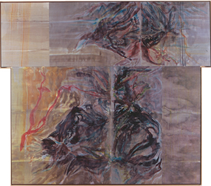 Ray Kass, Wilson Creek Polyptych, 1991 Watercolor on rag paper with beeswax/methylcellulose coating, mounted on canvas 75 x 84 3/4 x 2 in. (190.5 x 215.3 x 5.1 cm)