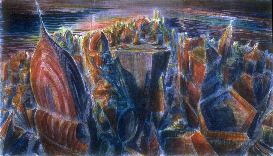 Metropolis: Convergence of Rivers (NYC looking South From Grand Central/Pan Am Building), 3 Panel, 1986