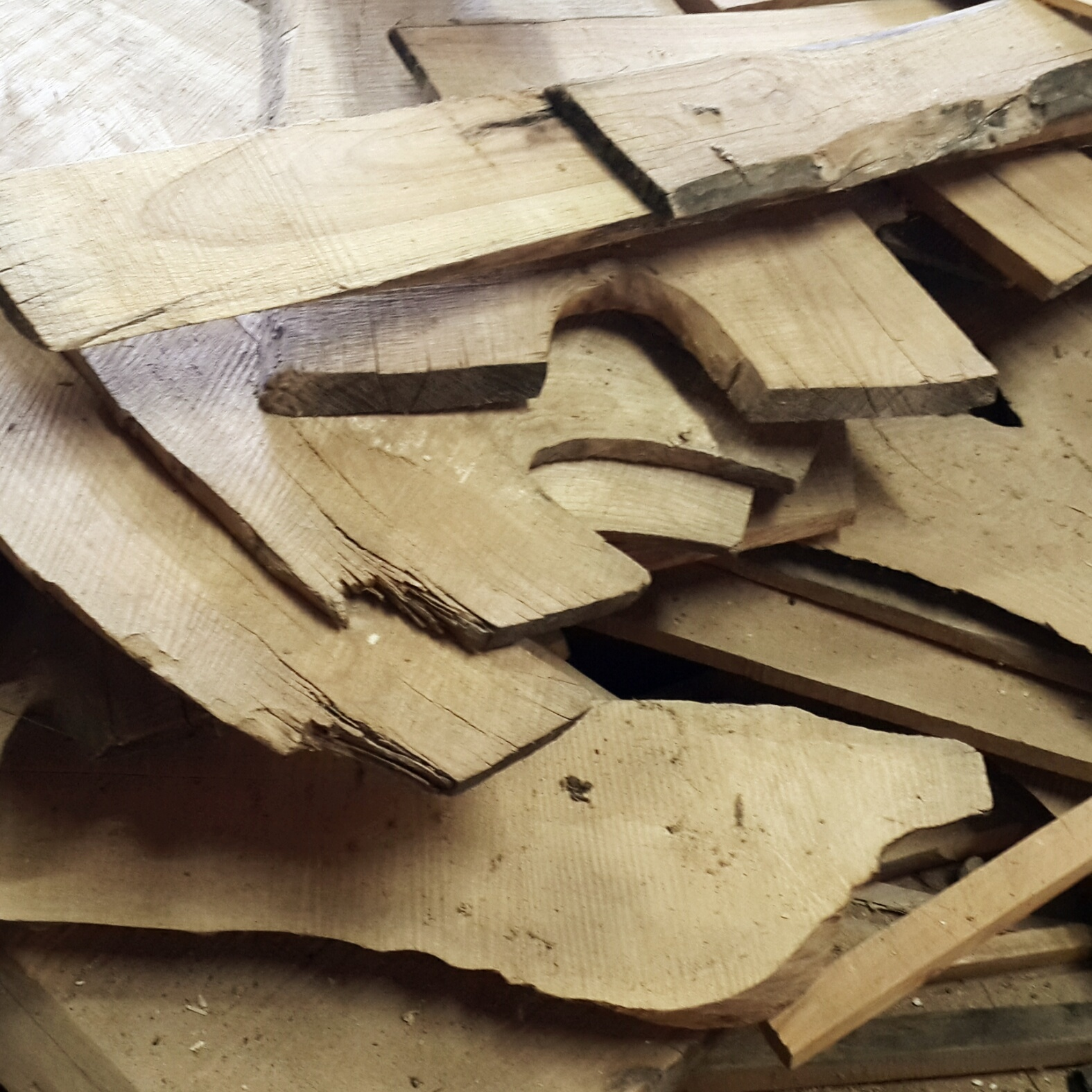 PILE of random sized & shaped pieces of all our beautiful wood.