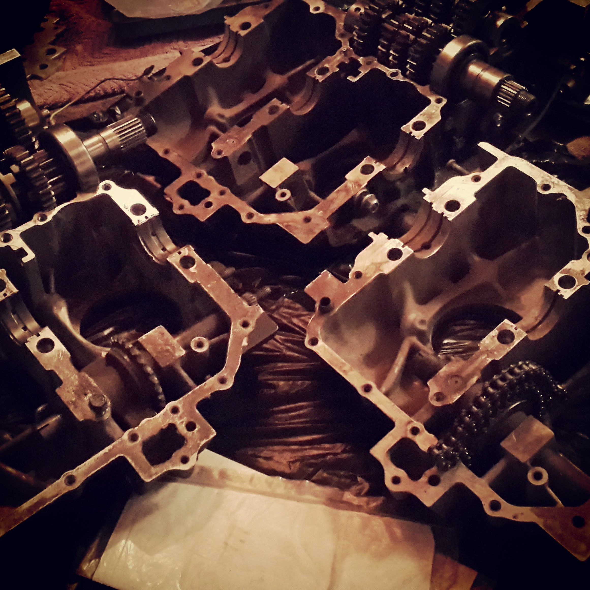 Pieces of CB400 engines, still dirty before cleaning or any serious building back in September 2013.