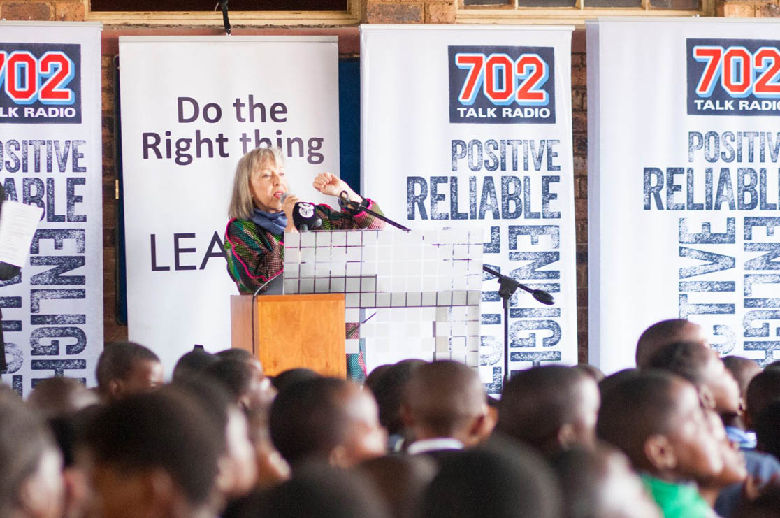Jenny Crwys-Williams addresses the learners in a special assembly.