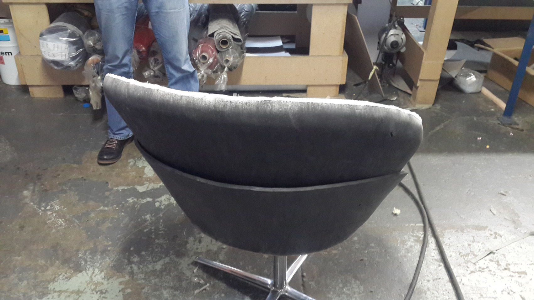 Creating the CURVES on the reception chair