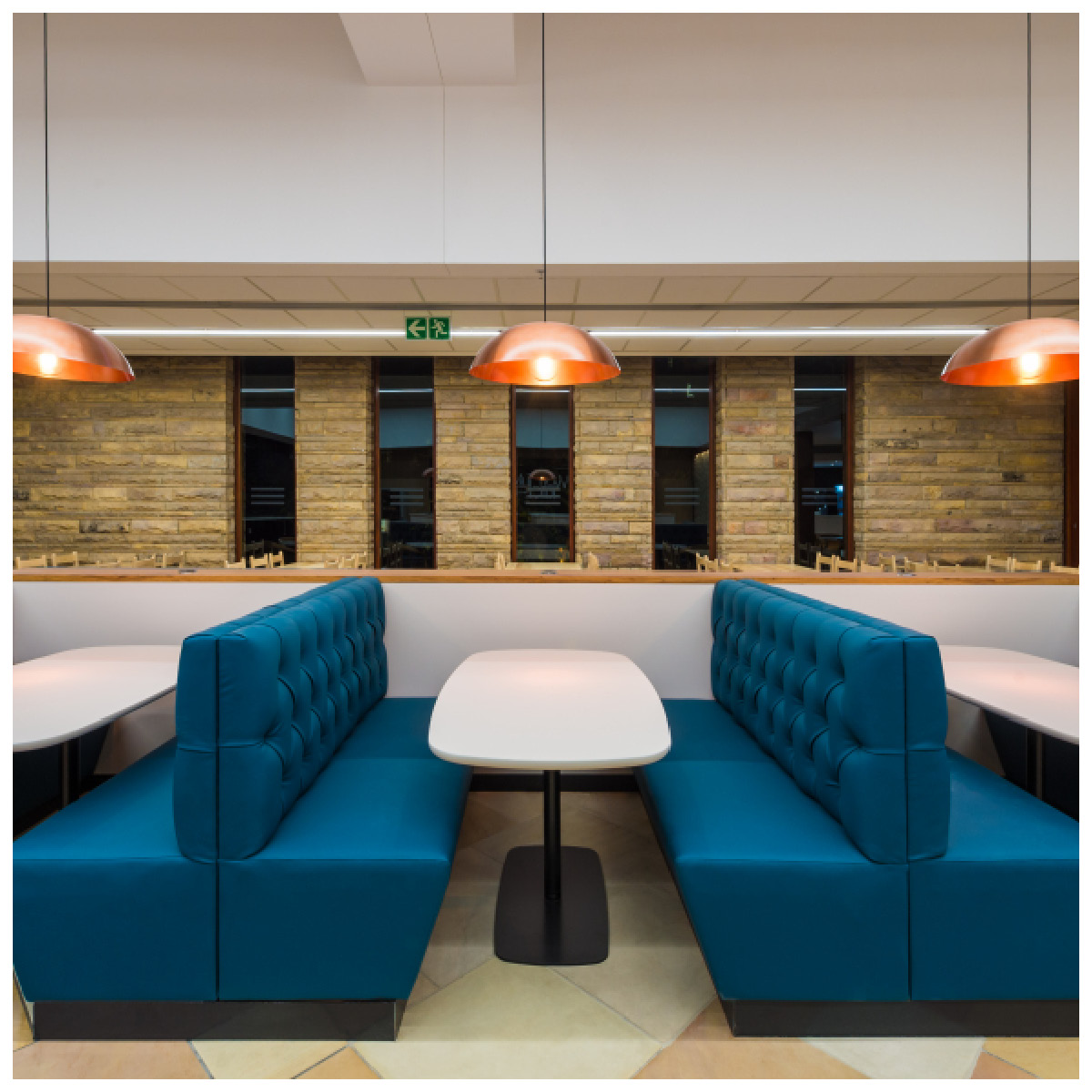CLIENT:  I4C (Interiors for Change)  // WHERE: AB InBev Cafeteria, Sandton // PRODUCT: Copper Metal-Look