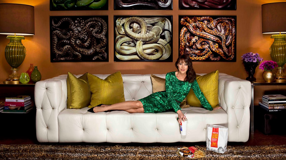 Photo of Tamara Mellon's Manhattan Apartment via  Harpers Bazaar . Artwork by  Guido Mocafico