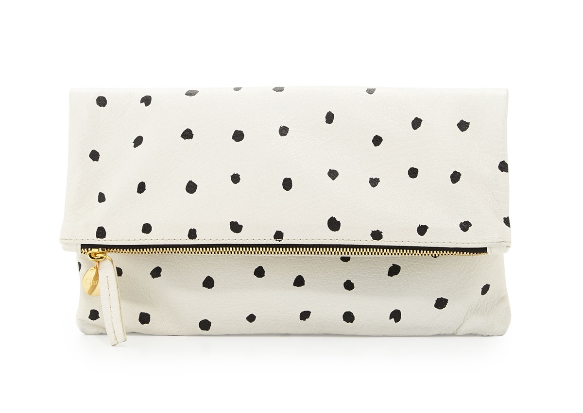 Clare V. Supreme Spotted Fold-Over Clutch Bag, White/Black was $220 now $154