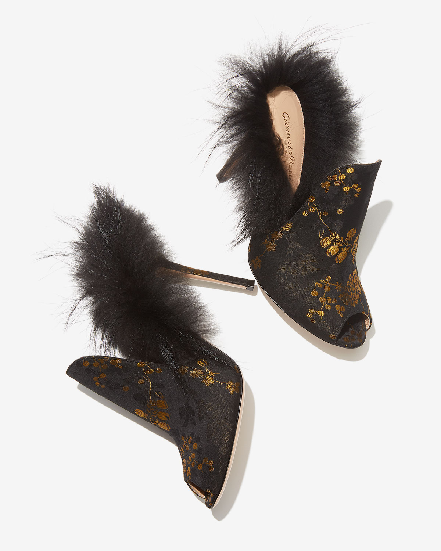 Gianvito Rossi Jacquard + Fur Heels