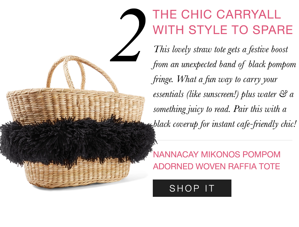 The perfect pompom-embellished tote.    Shop it here  >>
