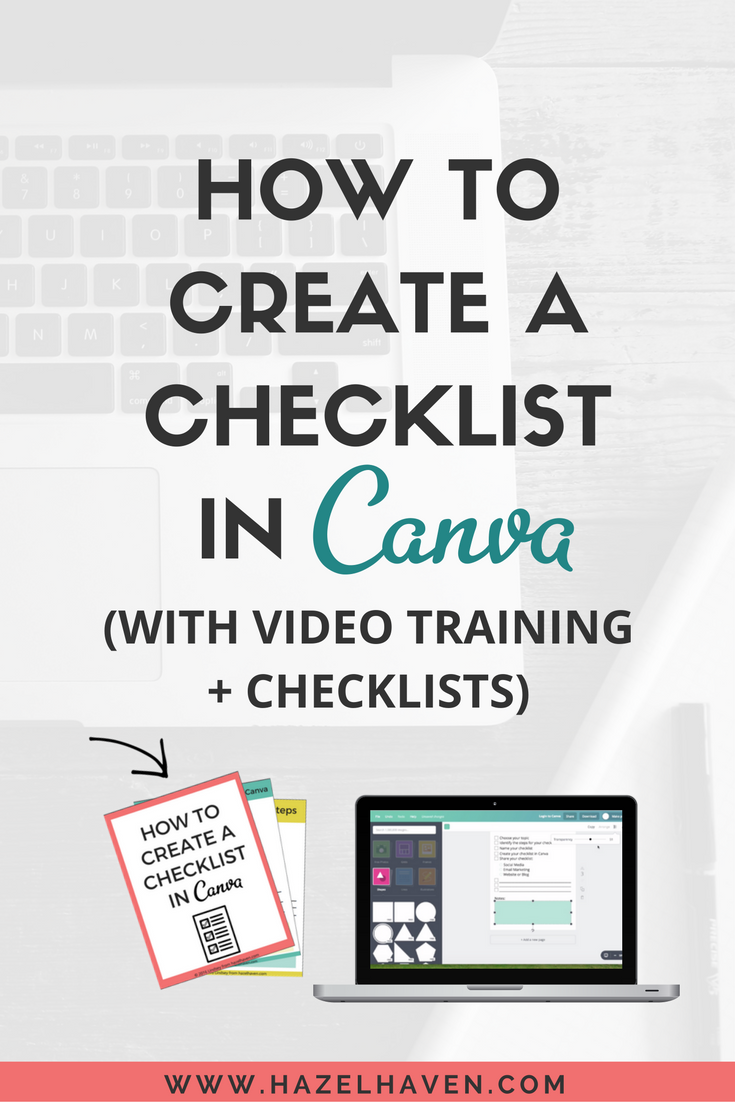 Creating a checklist is a great way to grow your email list. It also comes in handy if you have created a course and need a worksheet or would like to provide someone with a breakdown on how to do something.  You can create checklists in a few programs like word, apple pages, InDesign and etc but I personally like to create my checklists in  Canva .  You can watch the video training below on How to Create a Checklist in Canva: