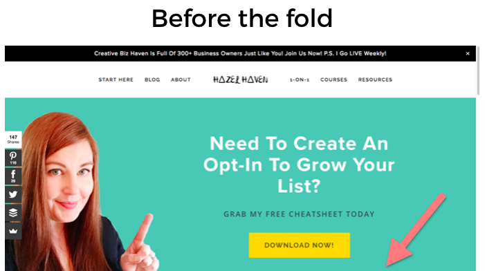 1. Before the fold of your website