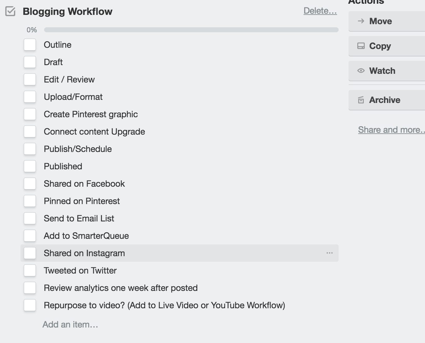 blogging workflow via trello