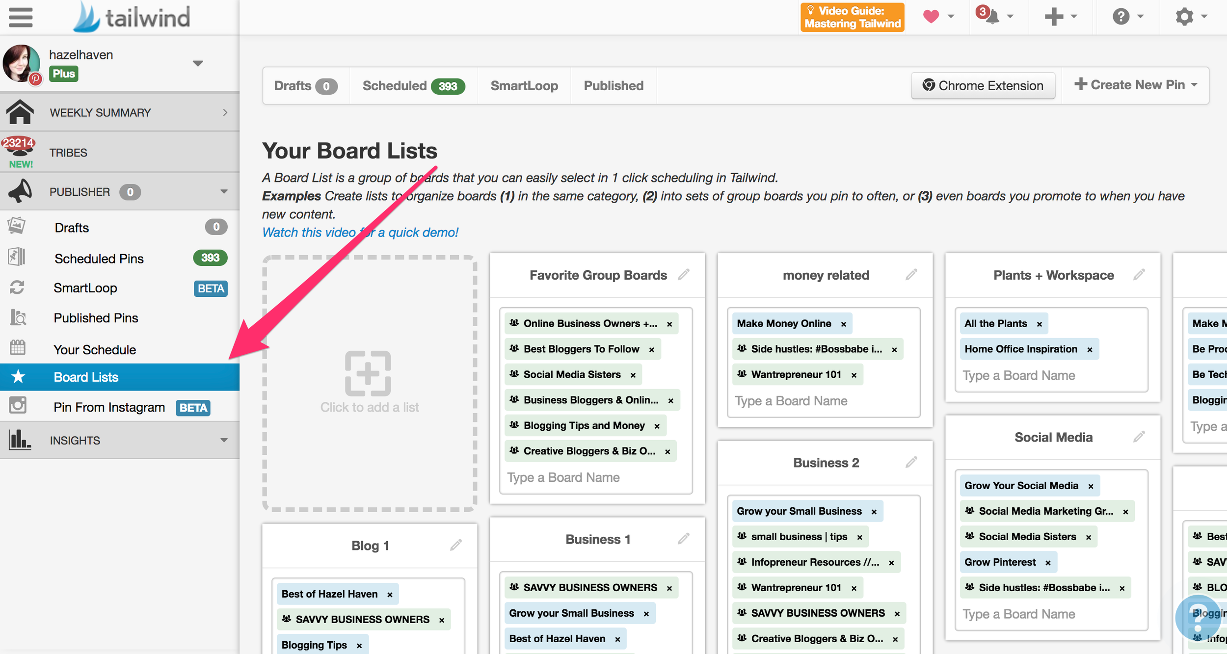 How to Use Board Lists with the Tailwind App for Pinterest #tailwind #blogging #onlinebusiness #pinterest #pinterestmarketing #tailwindapp