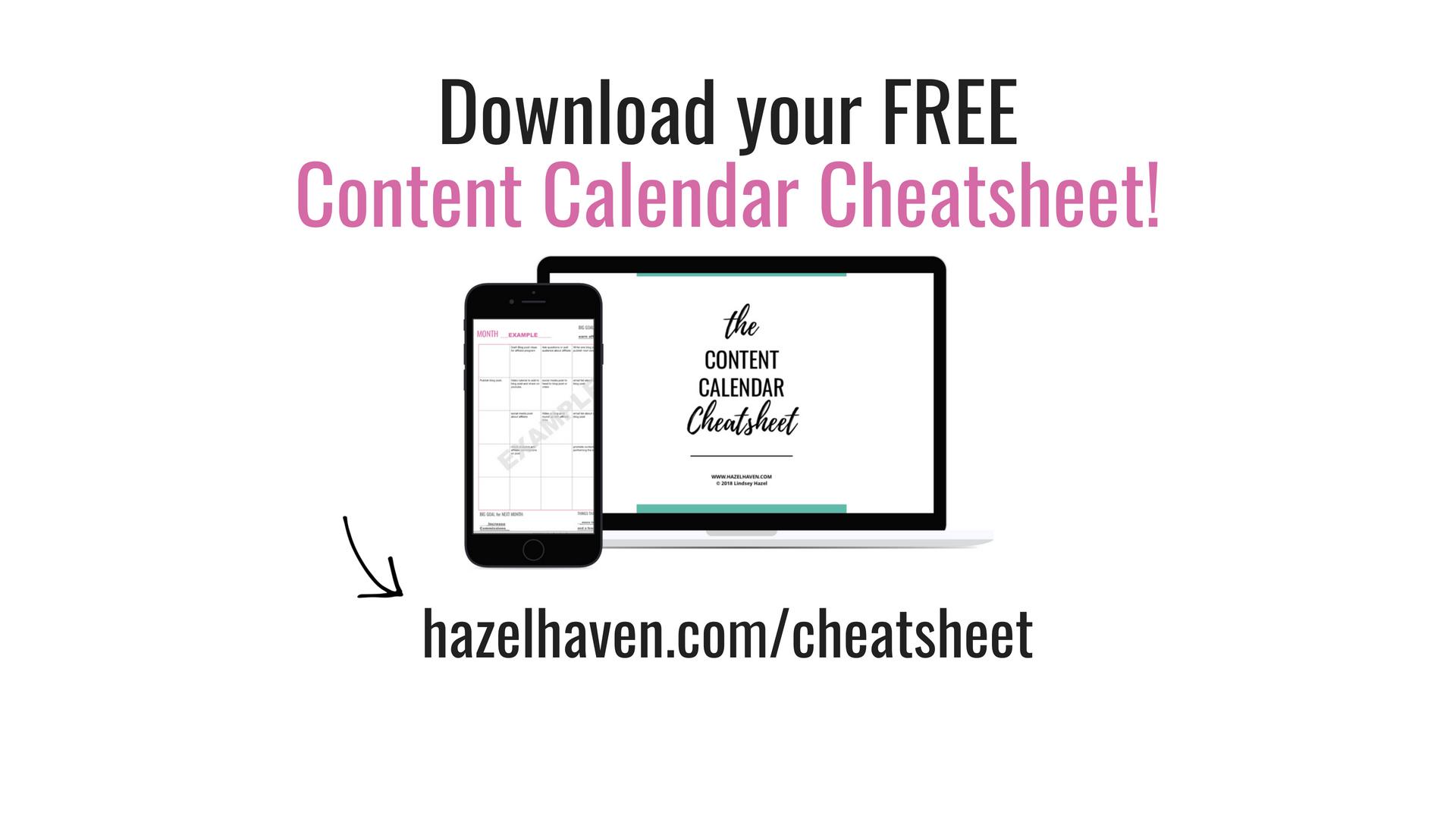 Download your FREE content calendar cheatsheet!