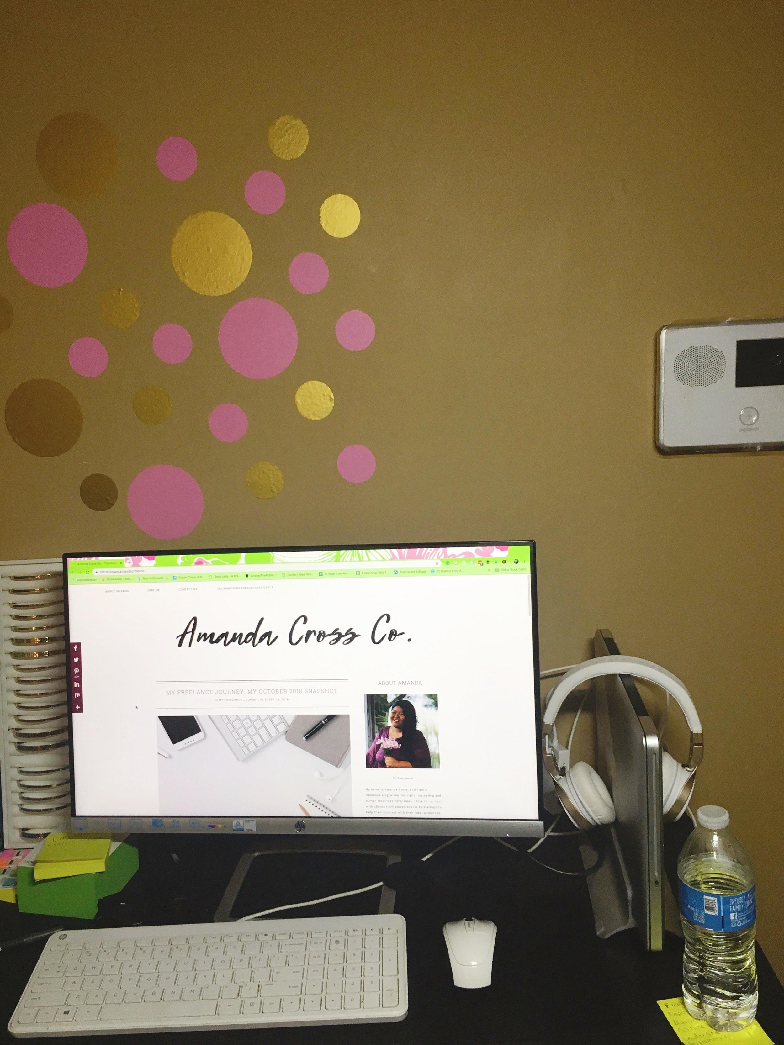 Amanda Cross Co's desk setup with macbook pro and external monitor.