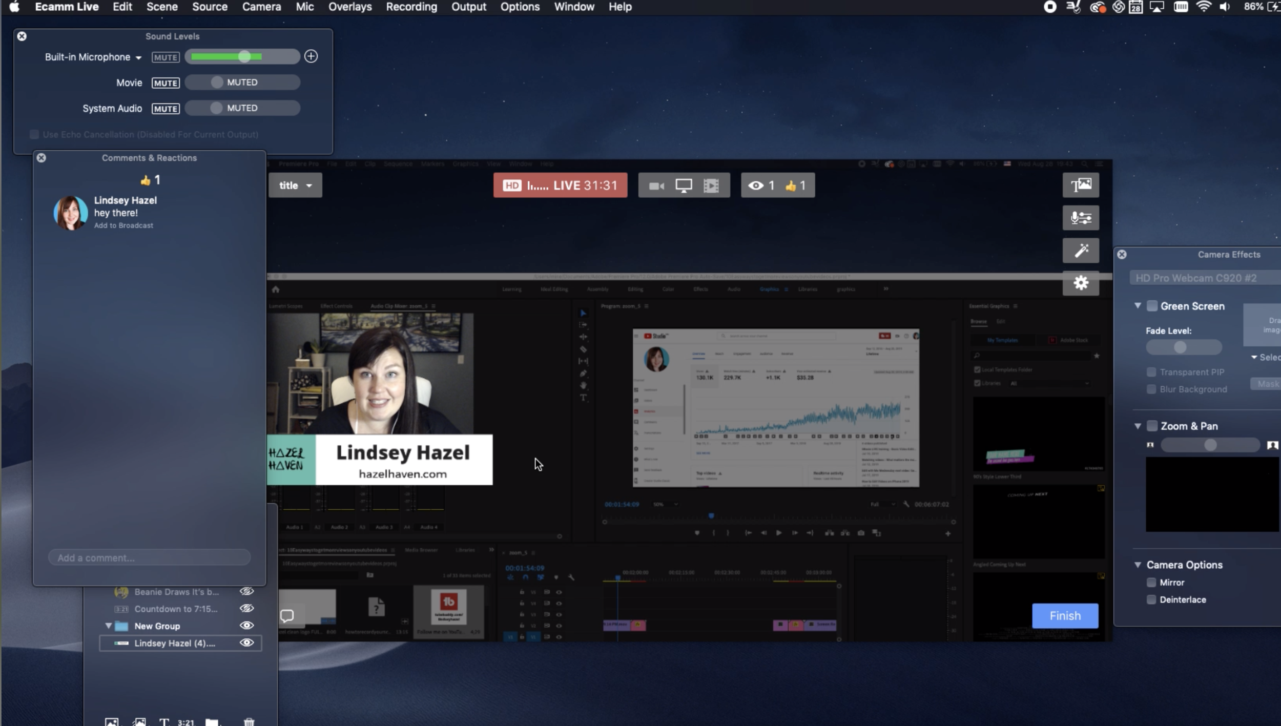 Ecamm Live best software for livestreaming on a Mac