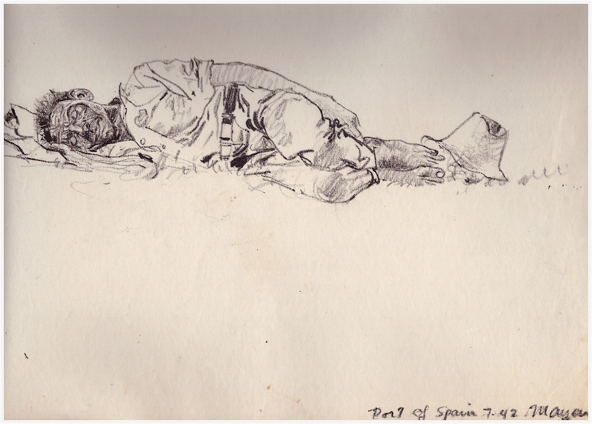 Sleeping man, Trinidad, 1943