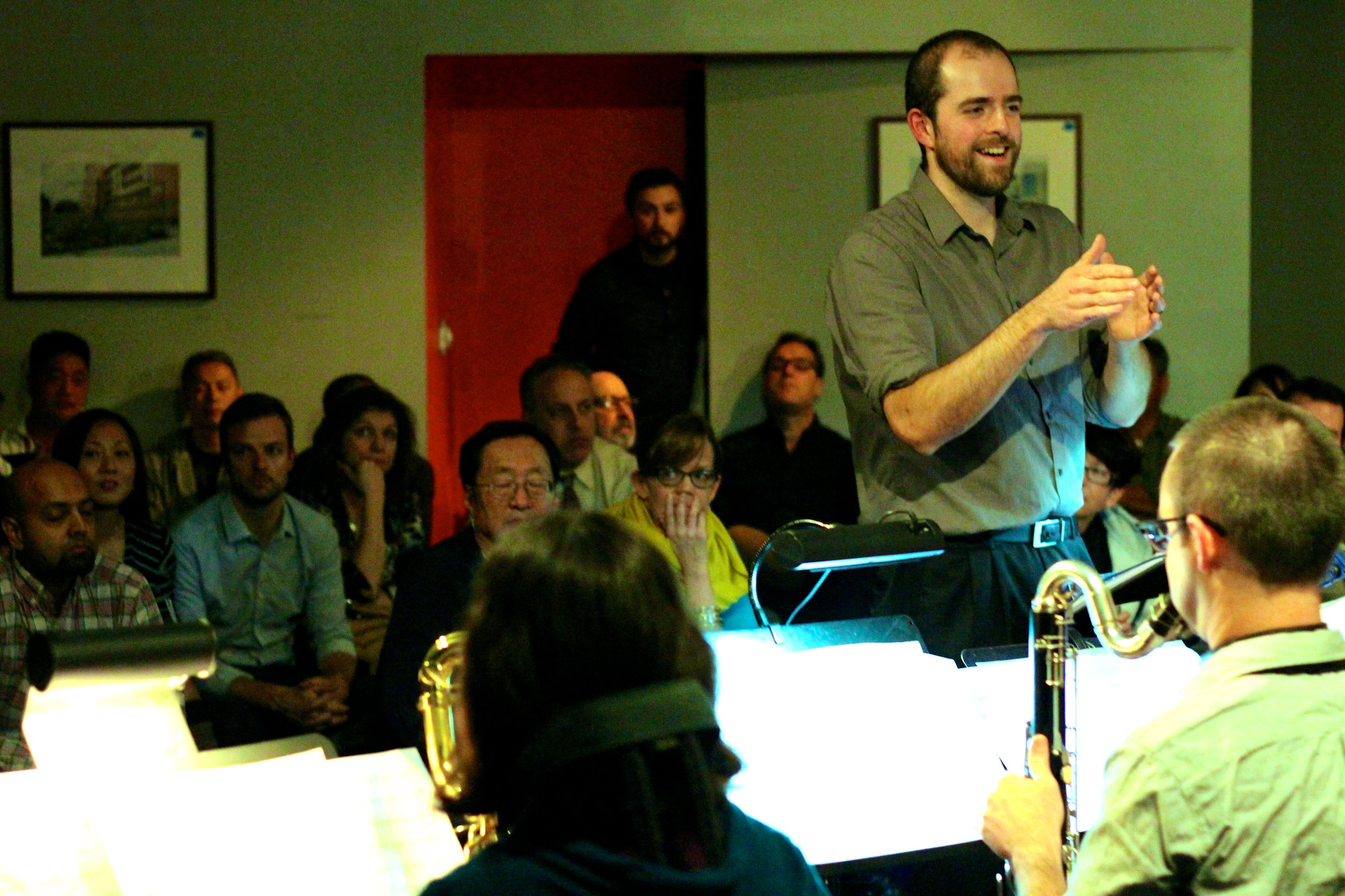 Conducting JAJO at the Blue Whale. Credit Aubre Hill.