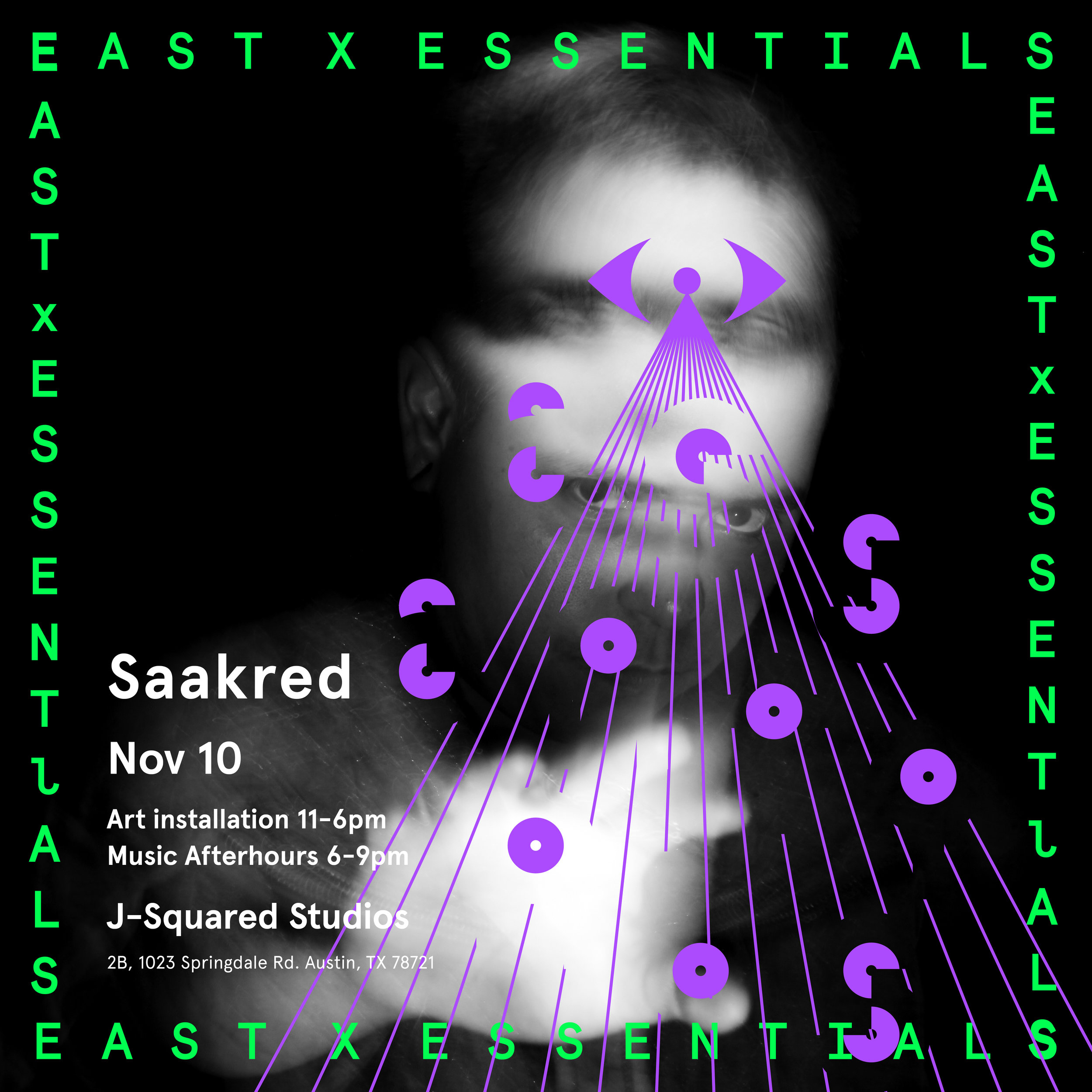 Saakred, Alternate flyer for EAST X ESSENTIALS CREATIVE