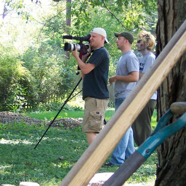 2005. Shooting some Late Afternoon of the Living Dead in Paul Brooks' parents' back yard with some people, a Canon XL1 and a DREAM! See how it played out on Amazon Prime.  #lateafternoonofthelivingdead #horror #horrorcomedy #laotld #zombies #zombiemovies #lowbudget #behindthescenes #bts