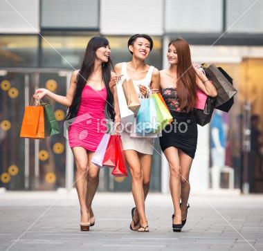Asian Girls Shopping Stock Photo