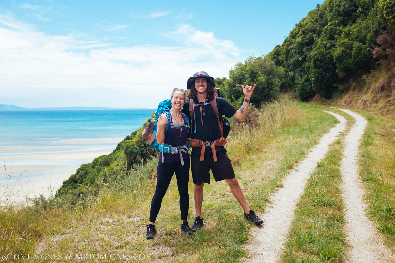 Deni & Chris at the beginning of our Abel Tasman adventure.
