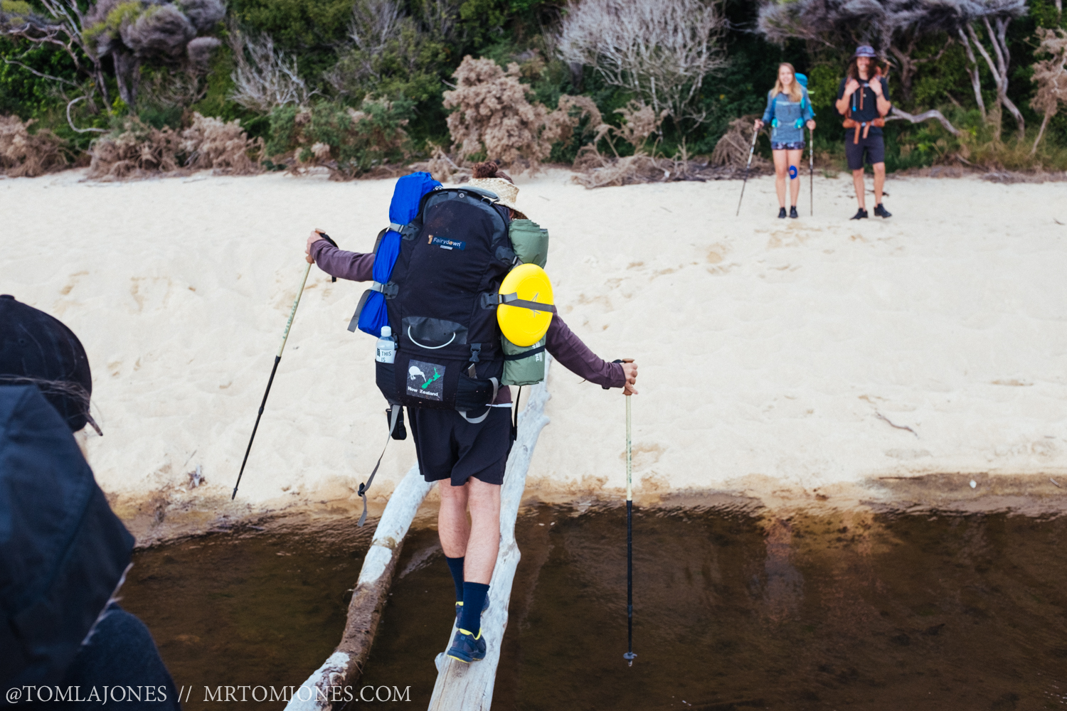 Crossing this little stream was more challenging that it could have been thanks to our top-heavy packs…
