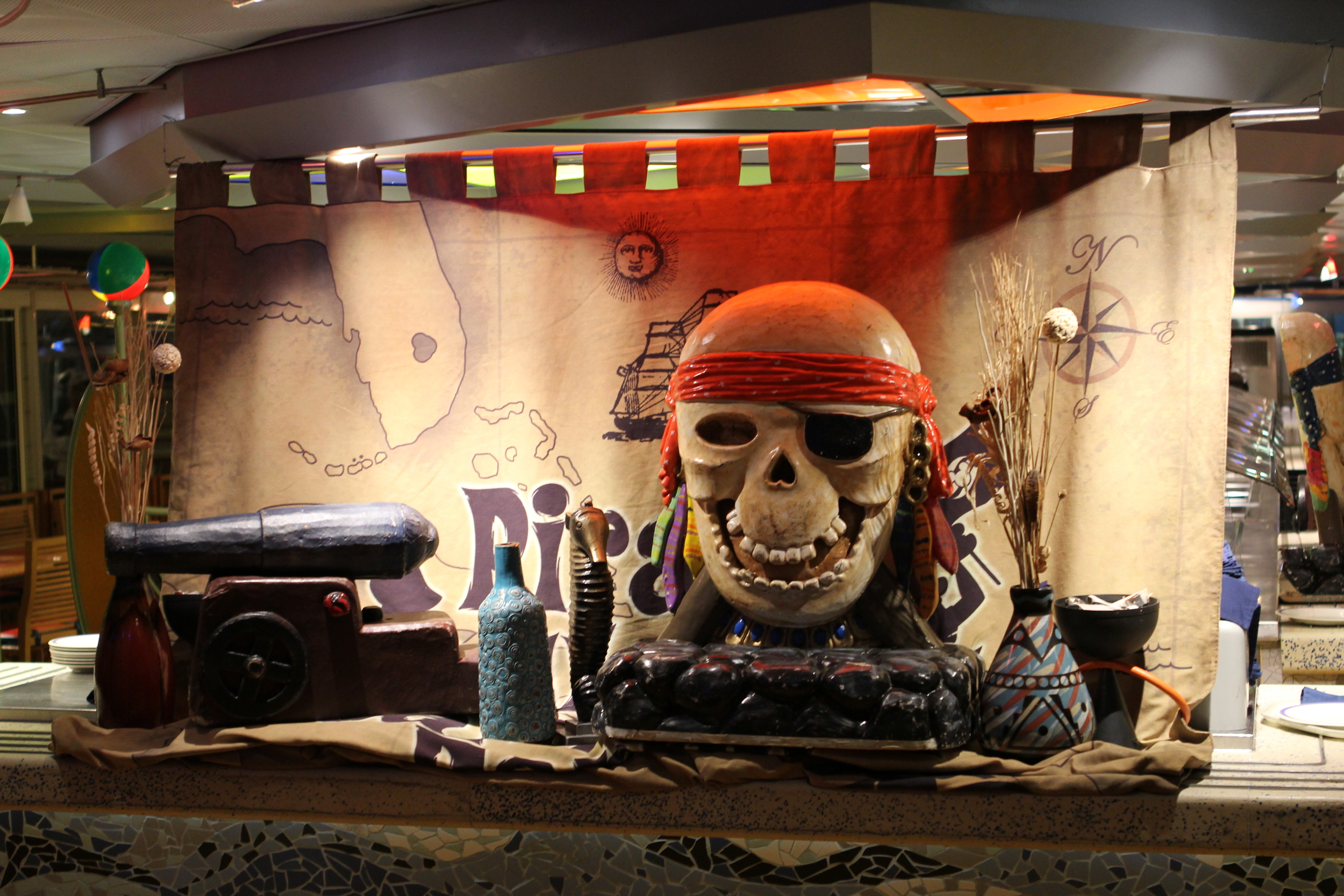 Decorations at Beach Blanket Buffet on Pirates' Night.