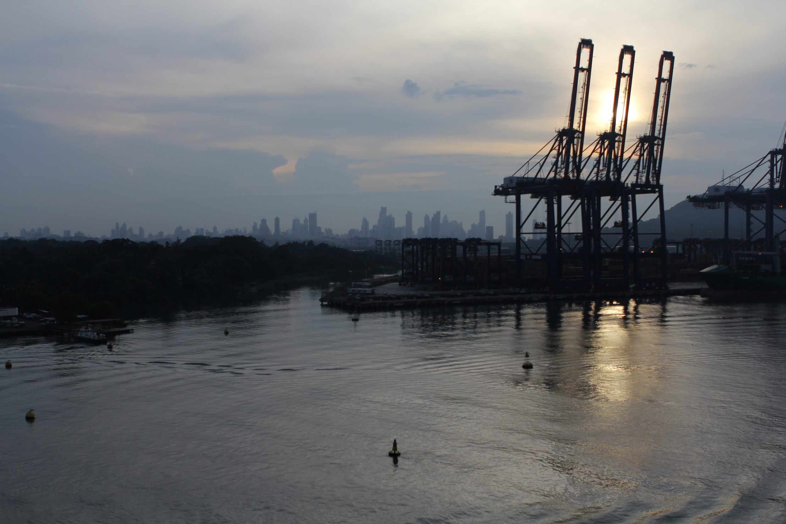 Sunrise over the cranes at the cargo piers..