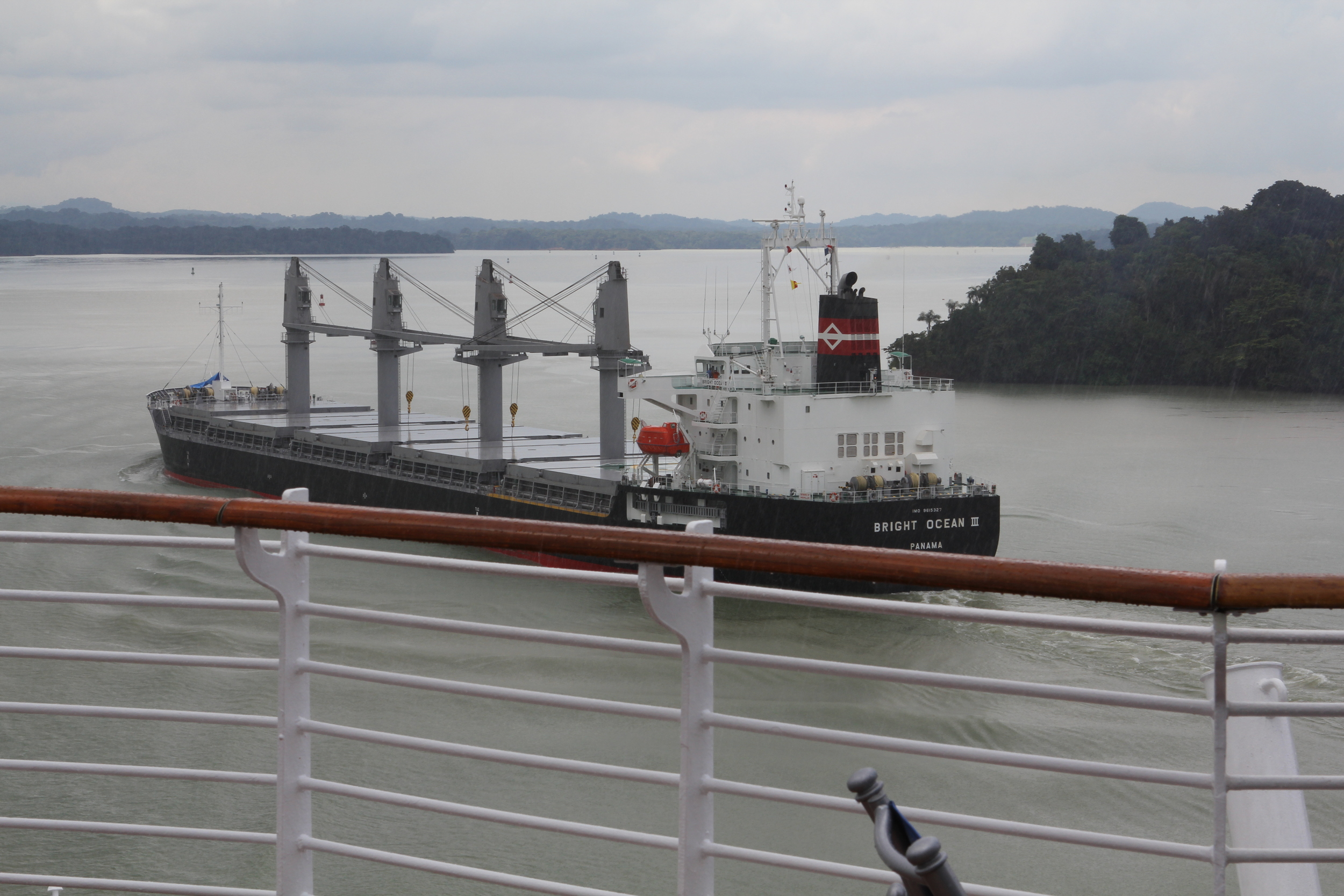 Passing other large ships in the lake.