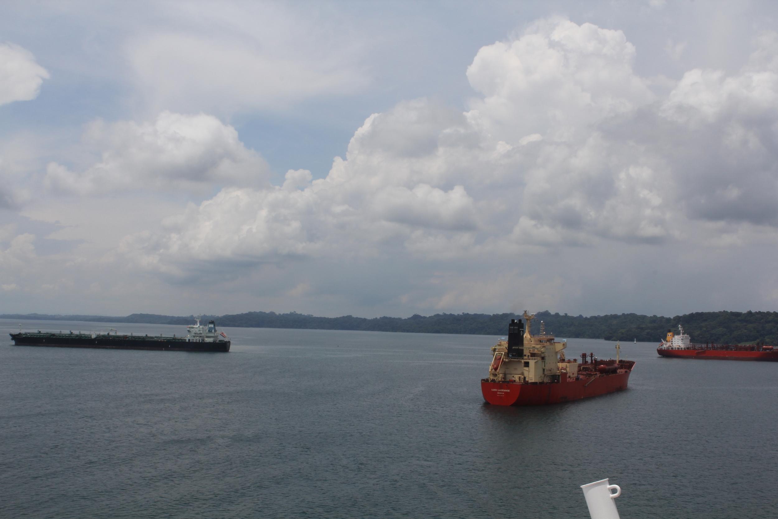 Ships waiting their turn to go through the locks into the Caribbean Sea.