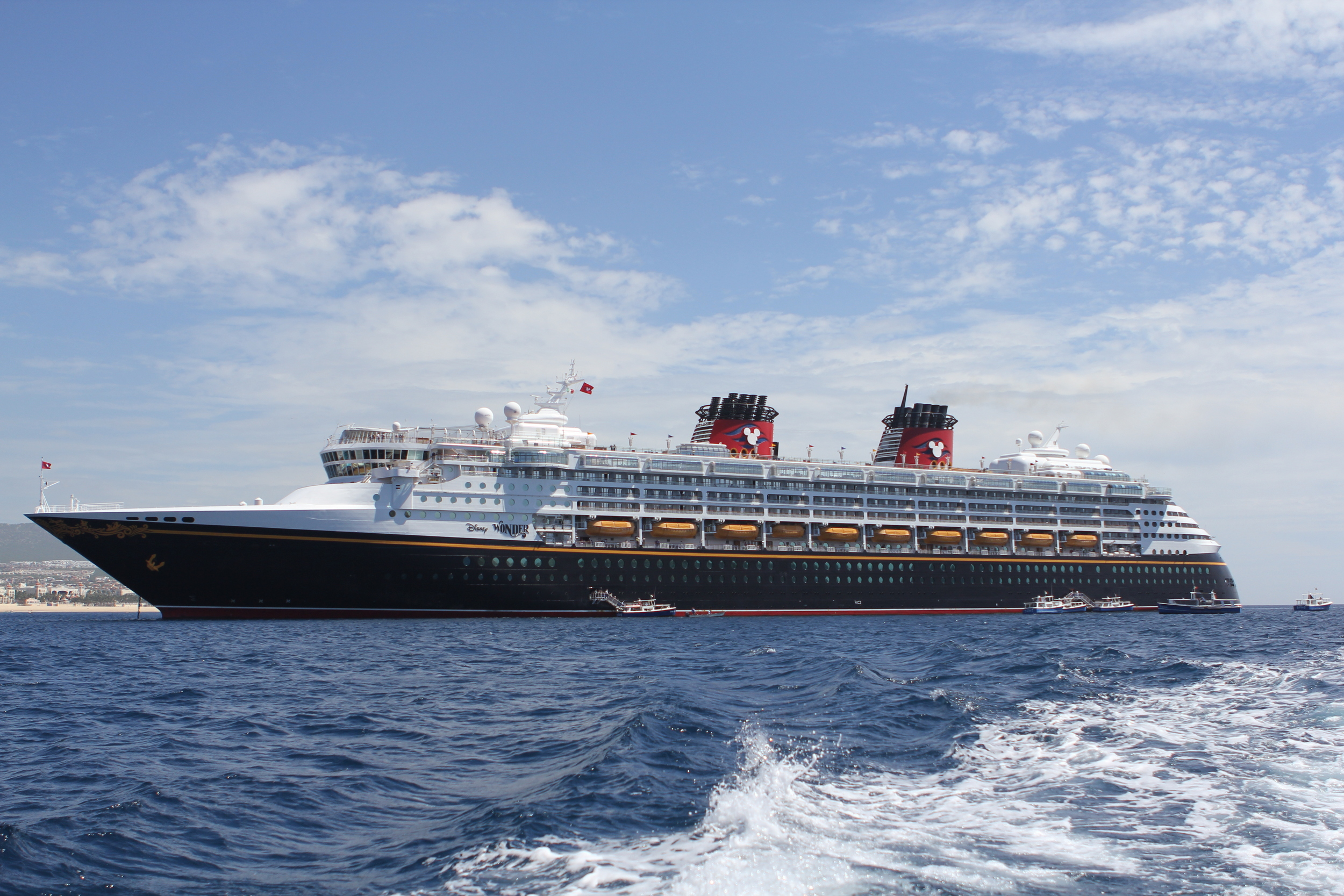 Disney Wonder, anchored in Cabo San Lucas Harbor