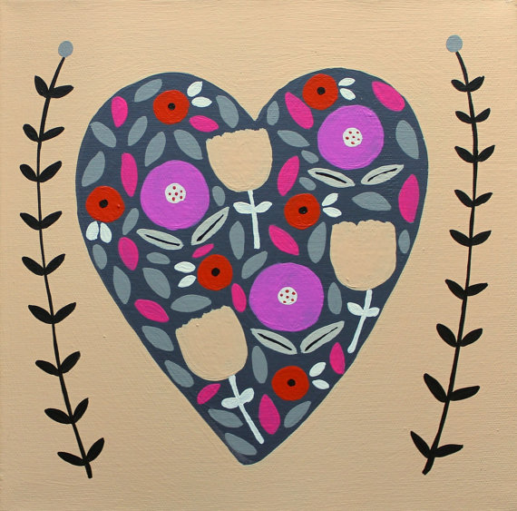 Floral Heart on Canvas Painting, Tumblewild