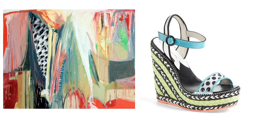This  painting  by Diana Delgado (via Uprise Art) and this  wedge sandal.