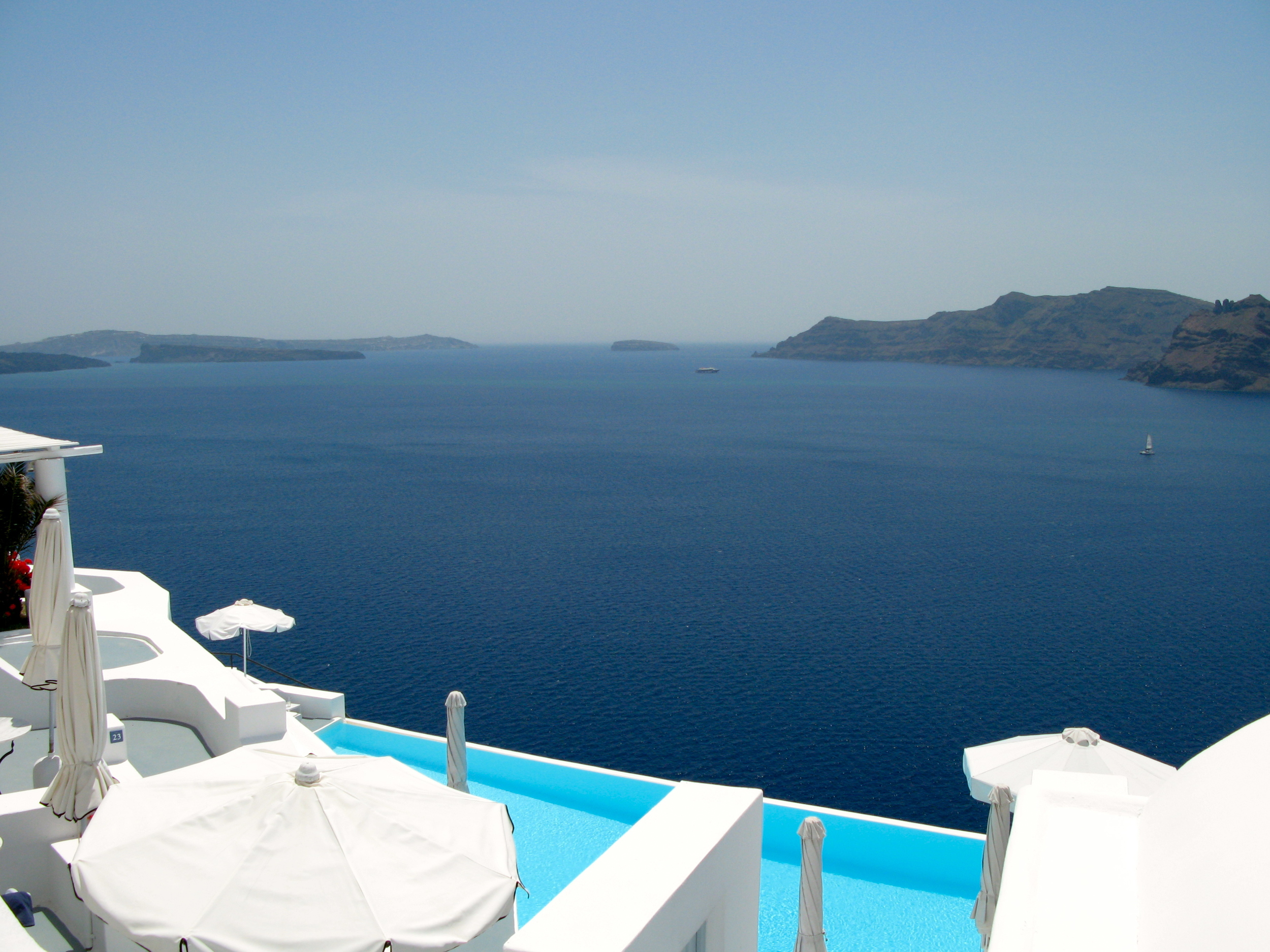 Pool at Katikies Hotel overlooking the Caldera in Santorini, Greece.  Photo by Rebecca Garland.