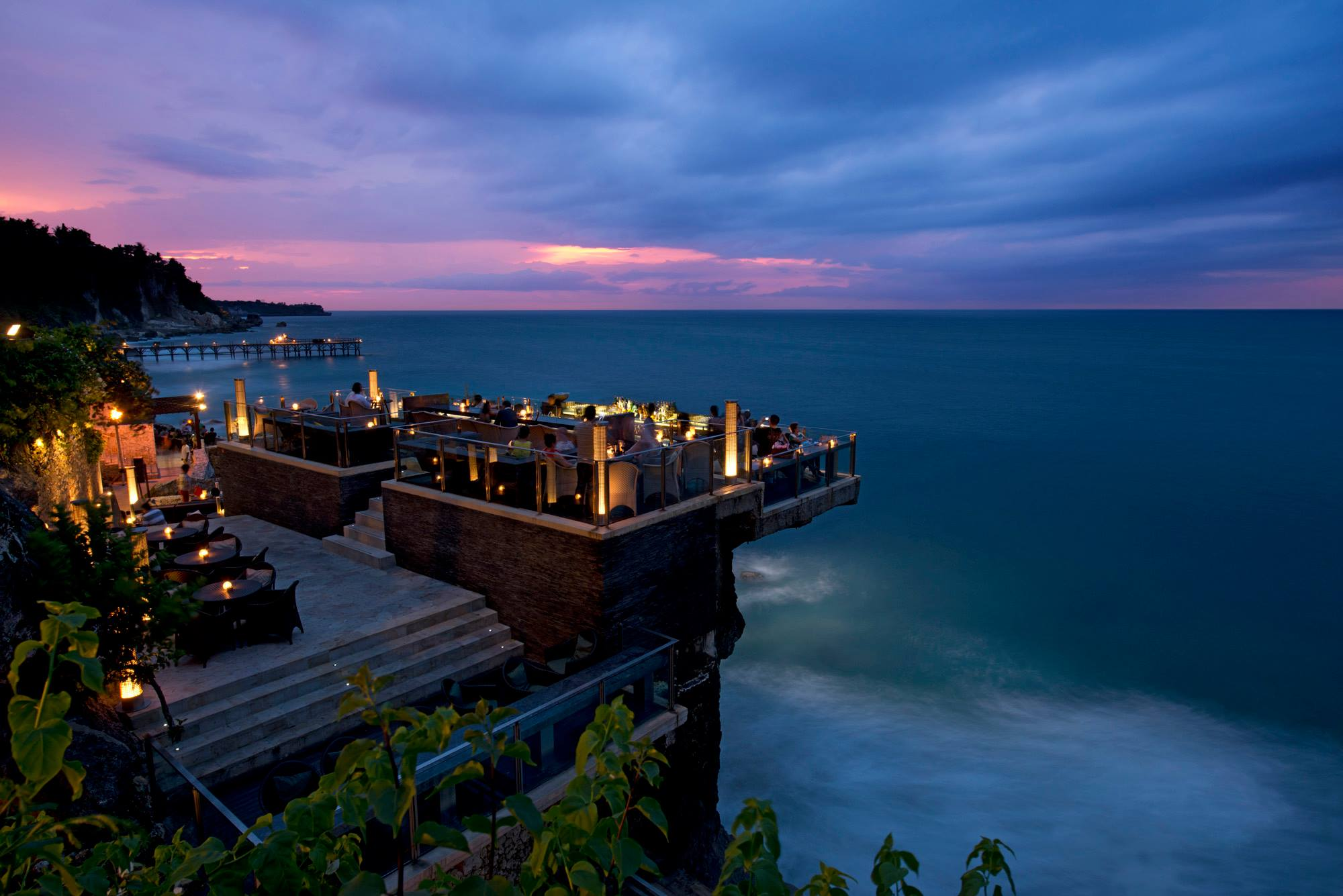 The Rock Bar at Ayana Resort in Bali overhangs the Indian Ocean.  Photo courtesy of Rock Bar Bali.