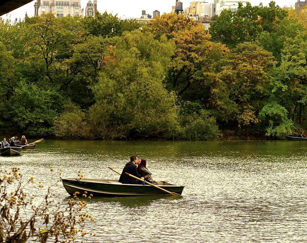Couple on a rowboat in Central Park in New York City  Photo by Sonia Maria Face.