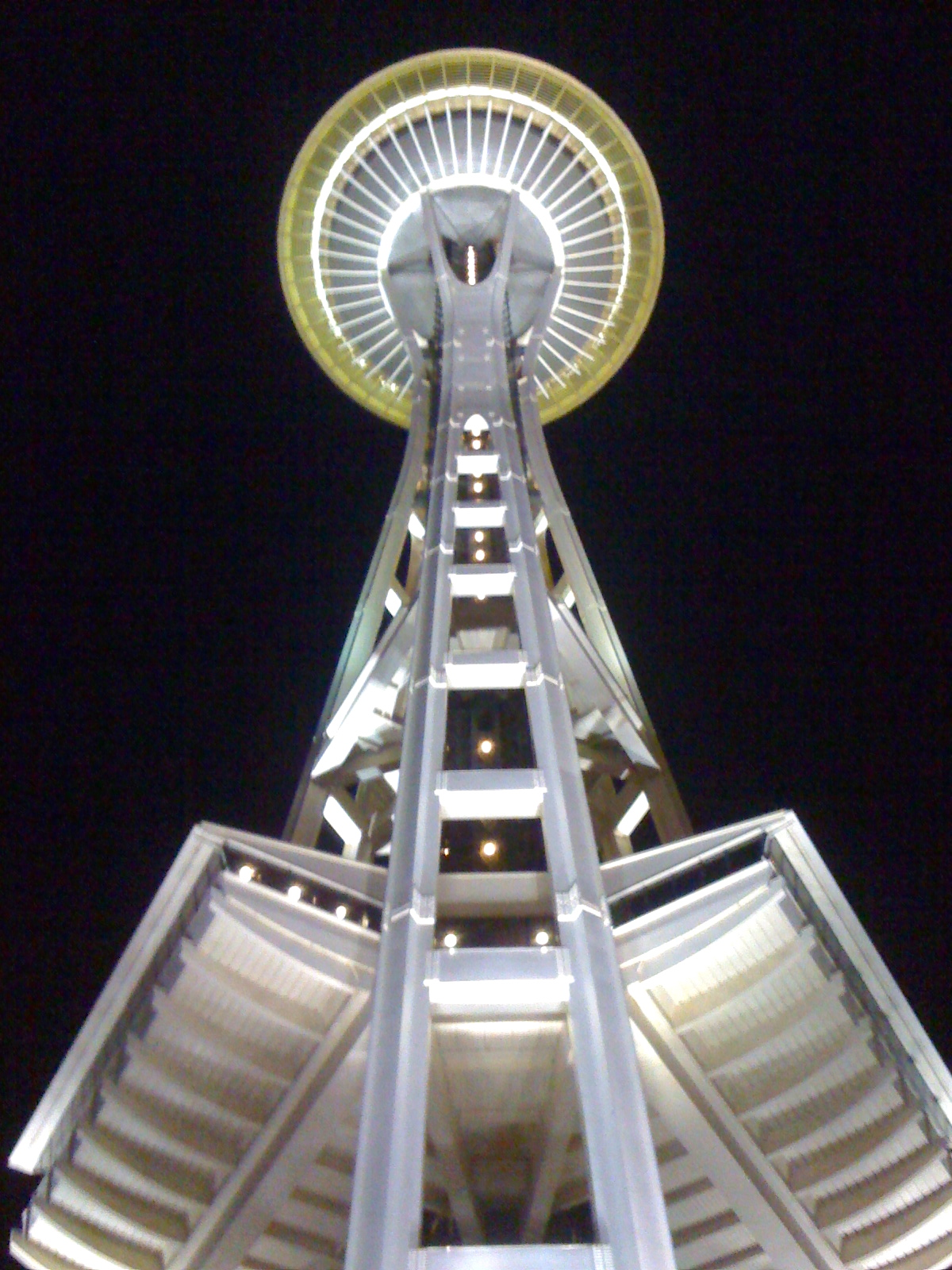 View from the base of the Space Needle at night.  Photo by Rebecca Garland.